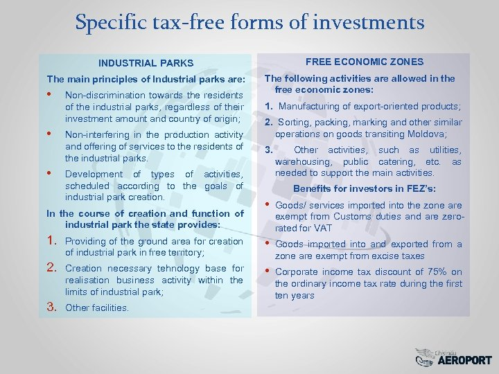 Specific tax-free forms of investments FREE ECONOMIC ZONES INDUSTRIAL PARKS The main principles of