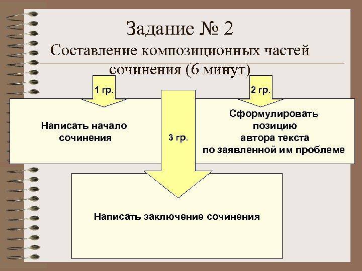 Задание № 2 Составление композиционных частей сочинения (6 минут) 1 гр. Написать начало сочинения