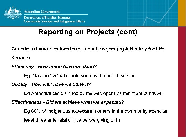 Reporting on Projects (cont) Generic indicators tailored to suit each project (eg A Healthy