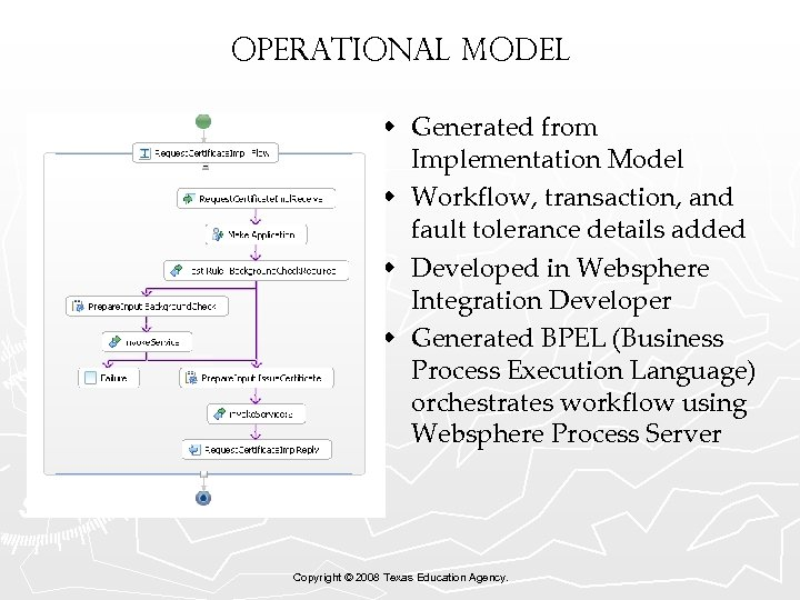 Operational Model w Generated from Implementation Model w Workflow, transaction, and fault tolerance details