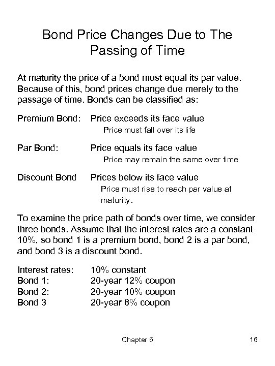 Bond Price Changes Due to The Passing of Time At maturity the price of