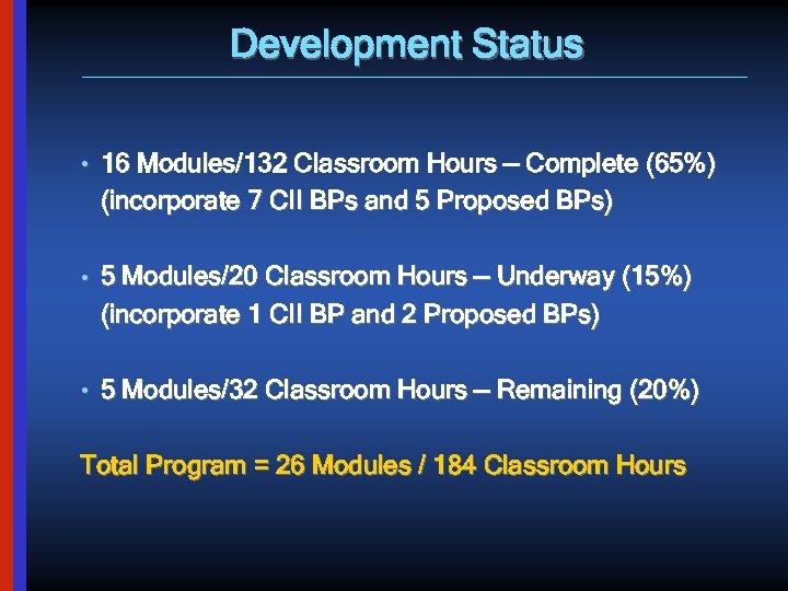 Development Status • 16 Modules/132 Classroom Hours — Complete (65%) (incorporate 7 CII BPs