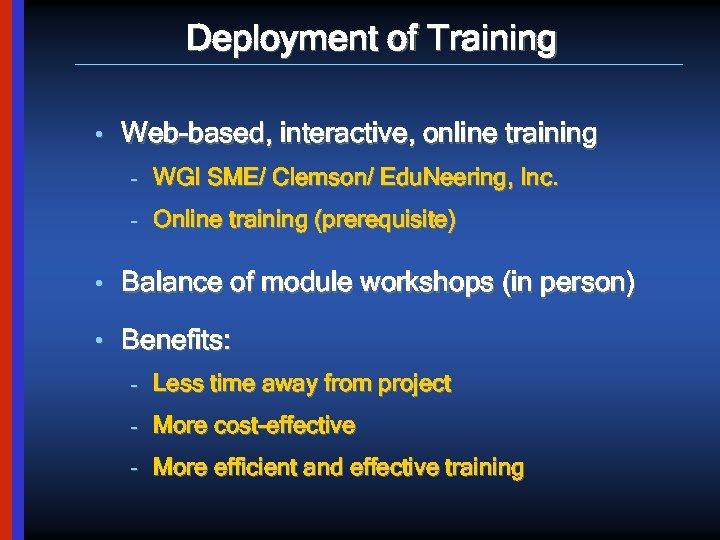 Deployment of Training • Web-based, interactive, online training – WGI SME/ Clemson/ Edu. Neering,