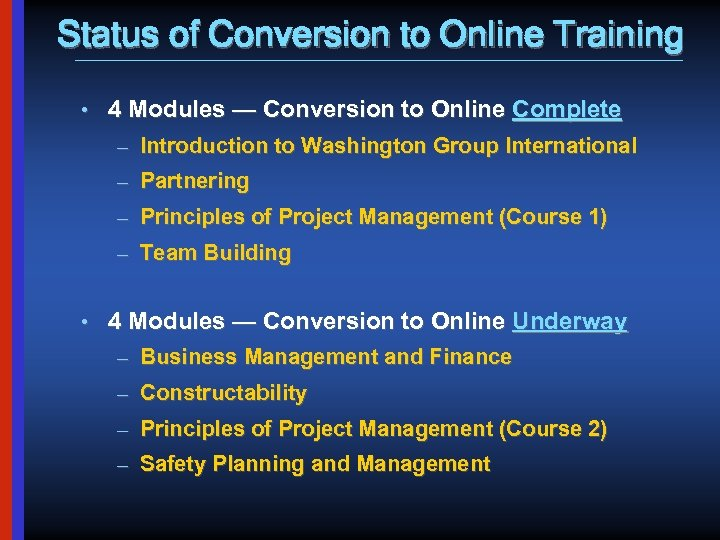 Status of Conversion to Online Training • 4 Modules — Conversion to Online Complete