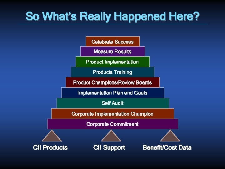 So What's Really Happened Here? Celebrate Success Measure Results Product Implementation Products Training Product
