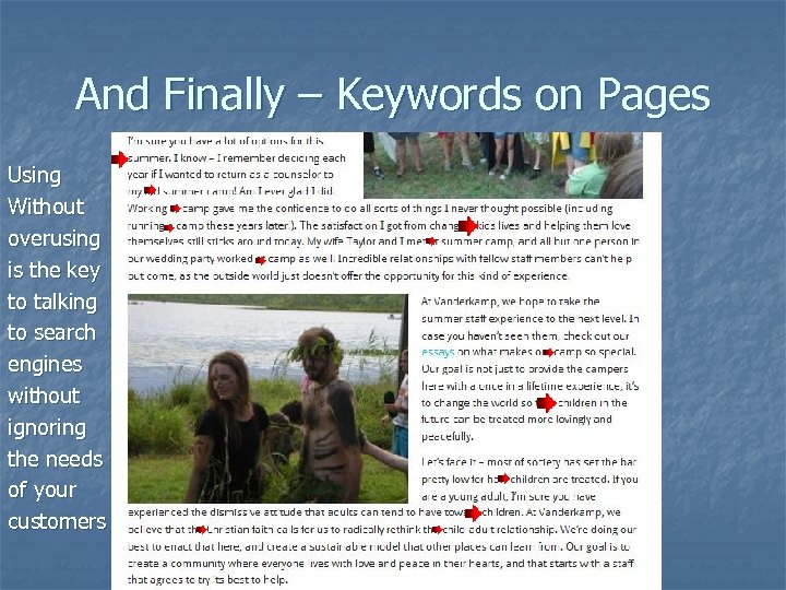 And Finally – Keywords on Pages Using Without overusing is the key to talking