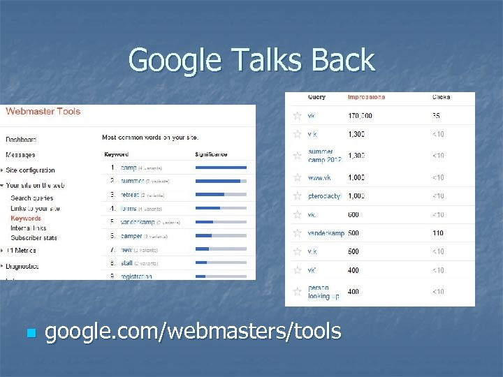 Google Talks Back n google. com/webmasters/tools
