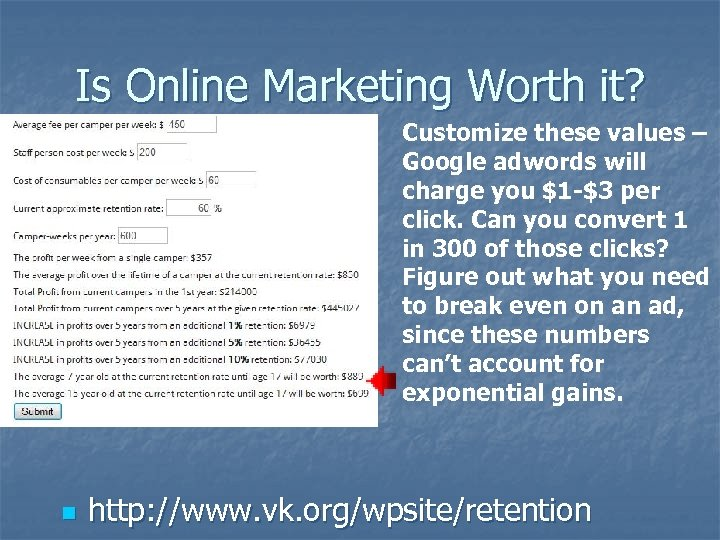 Is Online Marketing Worth it? Customize these values – Google adwords will charge you