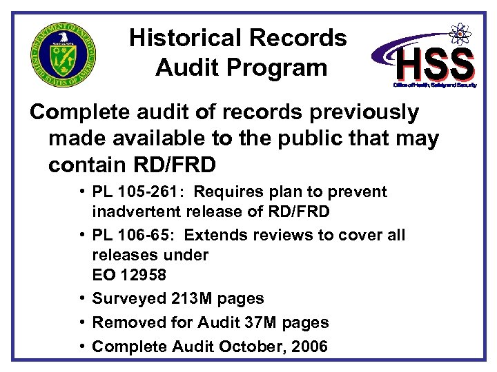 Historical Records Audit Program Complete audit of records previously made available to the public
