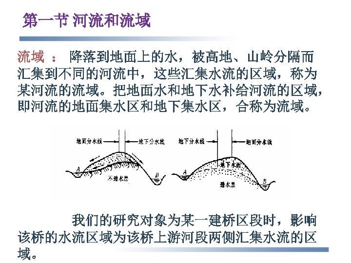 第一节 河流和流域 流域 : 降落到地面上的水,被高地、山岭分隔而 汇集到不同的河流中,这些汇集水流的区域,称为 某河流的流域。把地面水和地下水补给河流的区域, 即河流的地面集水区和地下集水区,合称为流域。 我们的研究对象为某一建桥区段时,影响 该桥的水流区域为该桥上游河段两侧汇集水流的区 域。