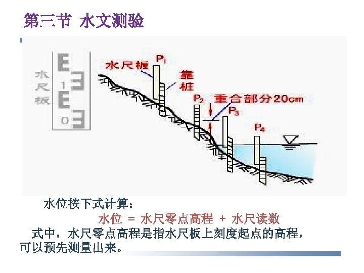 第三节 水文测验 水位按下式计算: 水位 = 水尺零点高程 + 水尺读数 式中,水尺零点高程是指水尺板上刻度起点的高程, 可以预先测量出来。