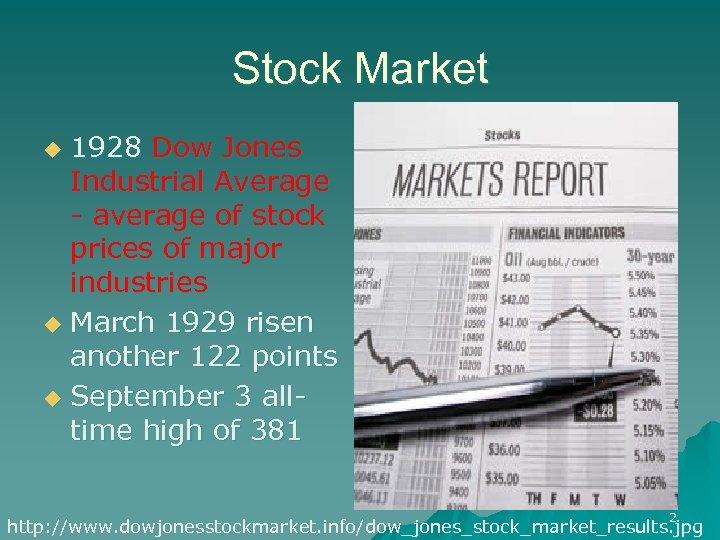 Stock Market 1928 Dow Jones Industrial Average - average of stock prices of major