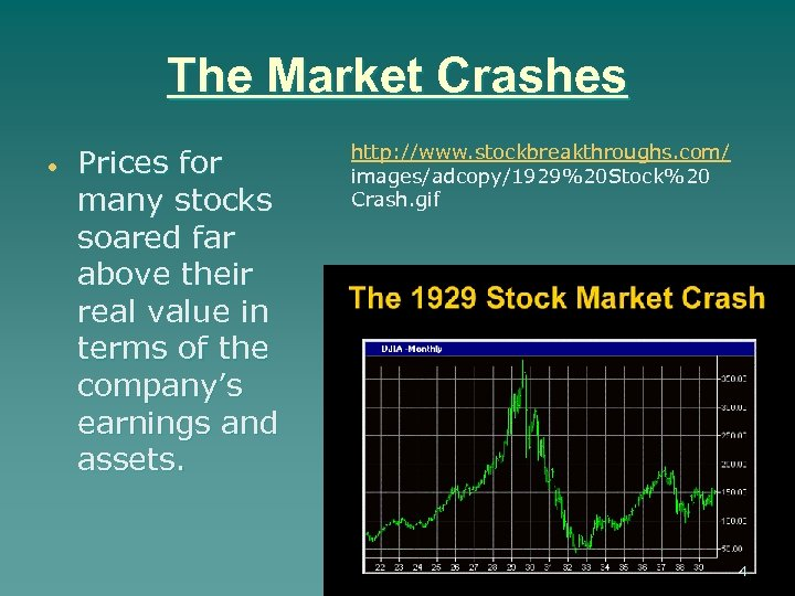 The Market Crashes Prices for many stocks soared far above their real value in