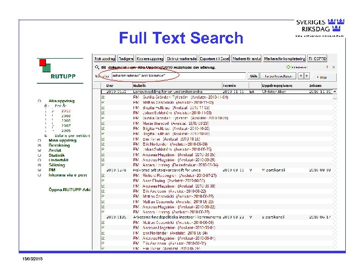 Full Text Search 18/03/2018