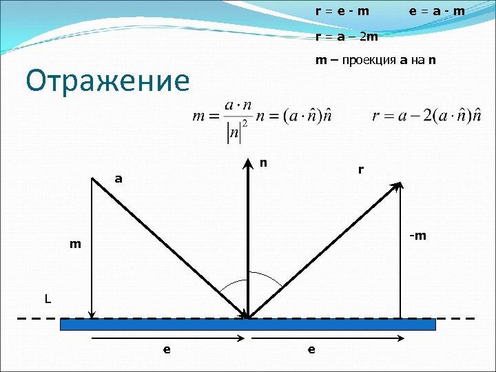 r=e-m e=a-m r = a – 2 m m – проекция a на n