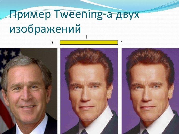 Пример Tweening-а двух изображений t 0 1