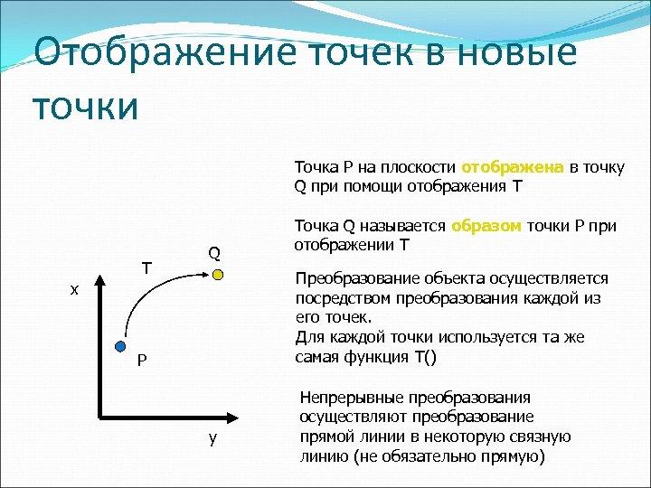 Отображение точек в новые точки Точка P на плоскости отображена в точку Q при