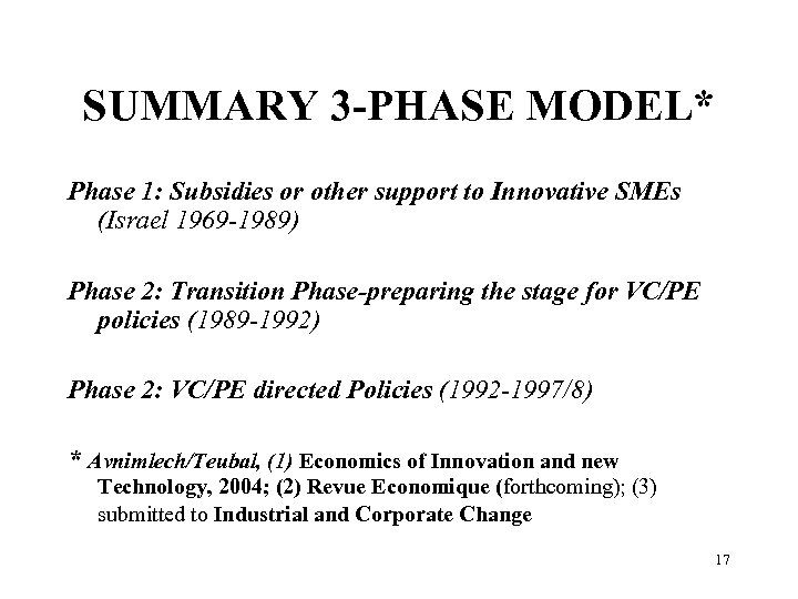 SUMMARY 3 -PHASE MODEL* Phase 1: Subsidies or other support to Innovative SMEs (Israel