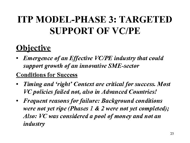 ITP MODEL-PHASE 3: TARGETED SUPPORT OF VC/PE Objective • Emergence of an Effective VC/PE