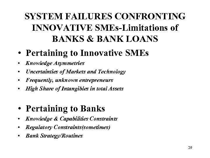 SYSTEM FAILURES CONFRONTING INNOVATIVE SMEs-Limitations of BANKS & BANK LOANS • Pertaining to Innovative