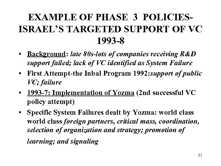 EXAMPLE OF PHASE 3 POLICIESISRAEL'S TARGETED SUPPORT OF VC 1993 -8 • Background: late
