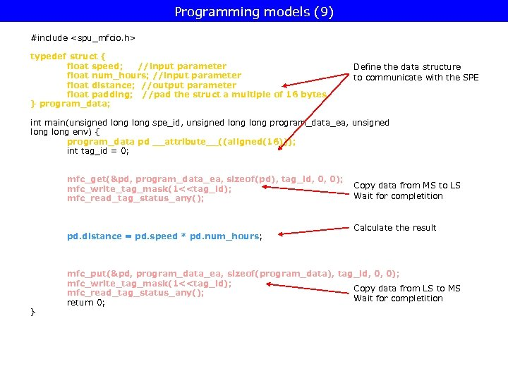 Programming models (9) #include <spu_mfcio. h> typedef struct { float speed; //input parameter float