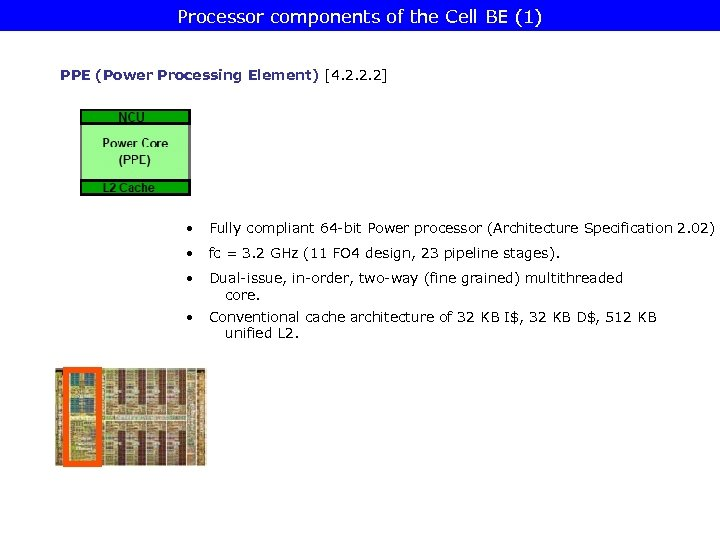 Processor components of the Cell BE (1) PPE (Power Processing Element) [4. 2. 2.