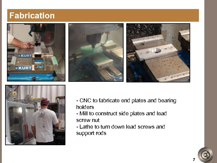 Fabrication - CNC to fabricate end plates and bearing holders - Mill to construct