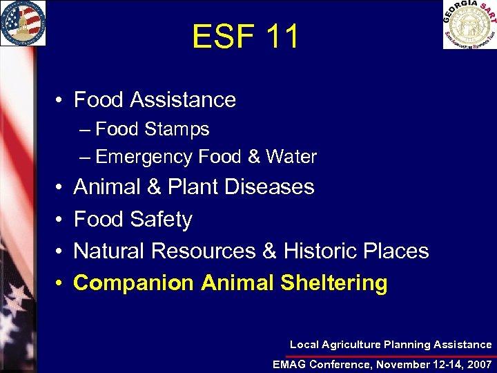ESF 11 • Food Assistance – Food Stamps – Emergency Food & Water •