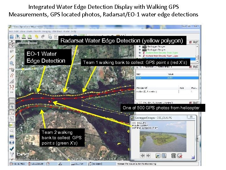 Integrated Water Edge Detection Display with Walking GPS Measurements, GPS located photos, Radarsat/EO-1 water