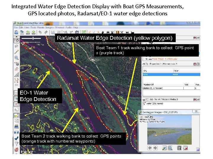 Integrated Water Edge Detection Display with Boat GPS Measurements, GPS located photos, Radarsat/EO-1 water