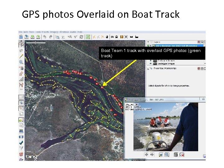 GPS photos Overlaid on Boat Track Boat Team 1 track with overlaid GPS photos