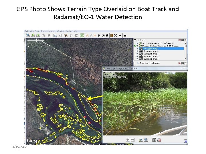 GPS Photo Shows Terrain Type Overlaid on Boat Track and Radarsat/EO-1 Water Detection 3/15/2018