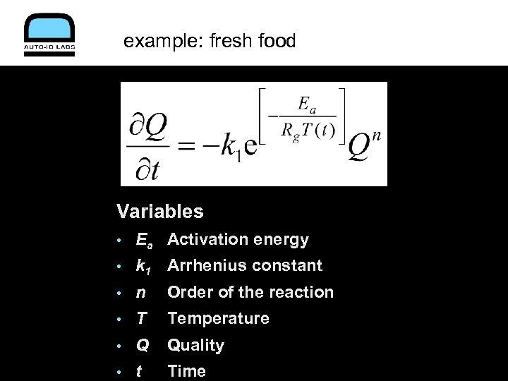 example: fresh food Variables • Ea Activation energy • k 1 Arrhenius constant •