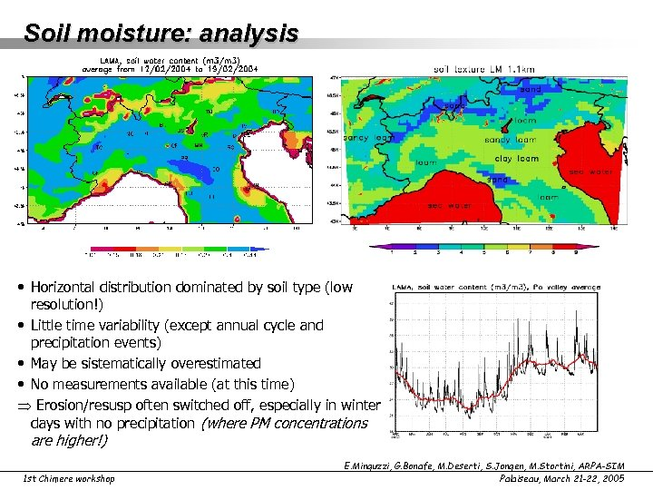 Soil moisture: analysis • Horizontal distribution dominated by soil type (low resolution!) • Little