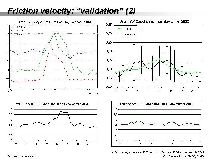 "Friction velocity: ""validation"" (2) 1 st Chimere workshop E. Minguzzi, G. Bonafe, M. Deserti,"