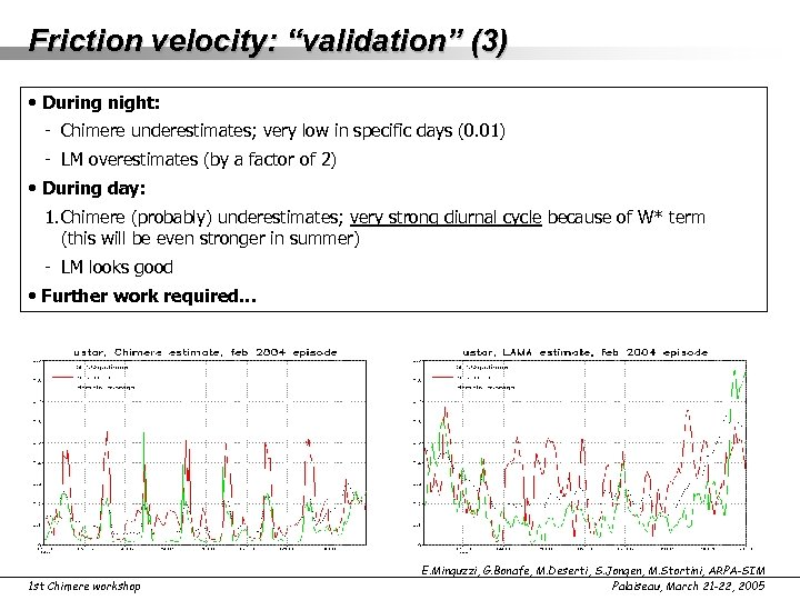 """Friction velocity: """"validation"""" (3) • During night: - Chimere underestimates; very low in specific"""