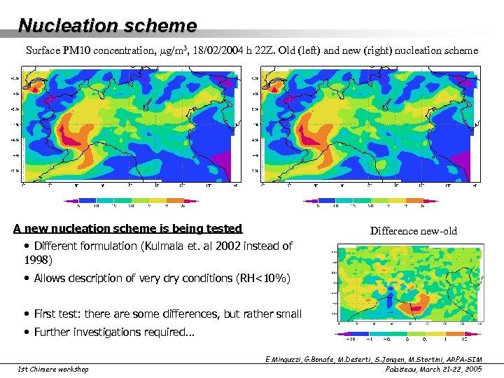 Nucleation scheme Surface PM 10 concentration, g/m 3, 18/02/2004 h 22 Z. Old (left)