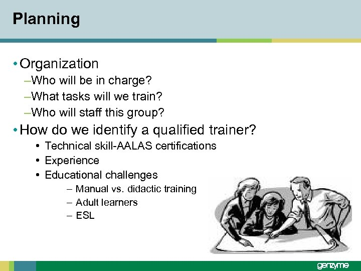 Planning • Organization –Who will be in charge? –What tasks will we train? –Who