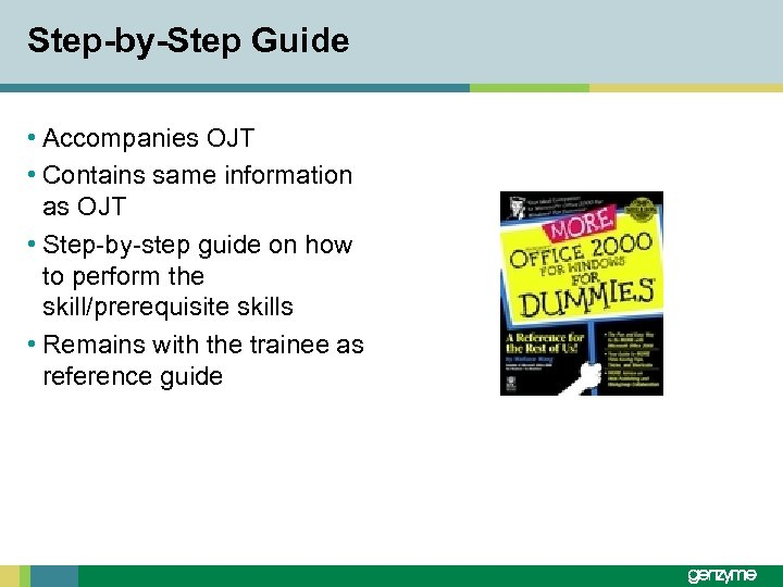 Step-by-Step Guide • Accompanies OJT • Contains same information as OJT • Step-by-step guide