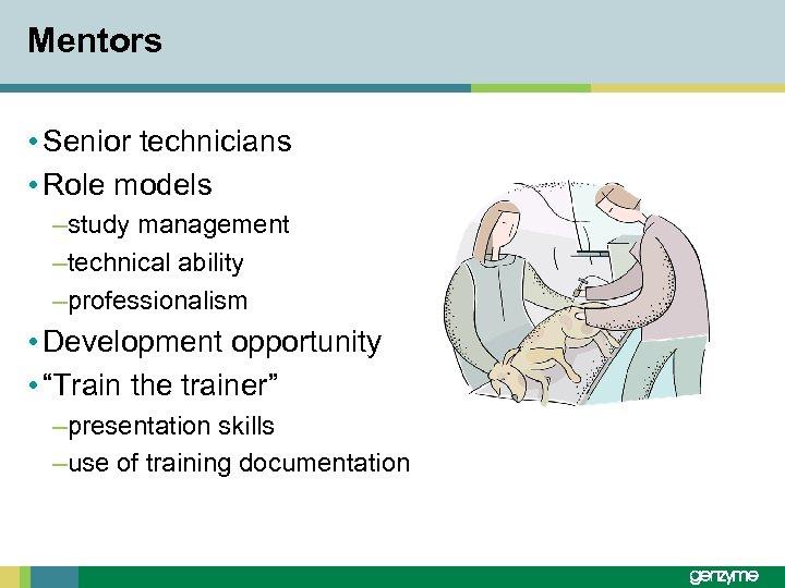 Mentors • Senior technicians • Role models –study management –technical ability –professionalism • Development