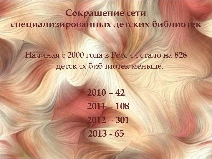 Сокращение сети специализированных детских библиотек Начиная с 2000 года в России стало на 828