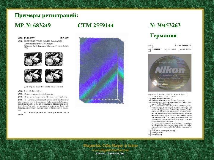 Примеры регистраций: МР № 683249 CTM 2559144 № 30453263 Германия Fitzpatrick, Cella, Harper &