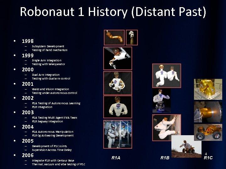 Robonaut 1 History (Distant Past) • 1998 – – • 1999 – – •