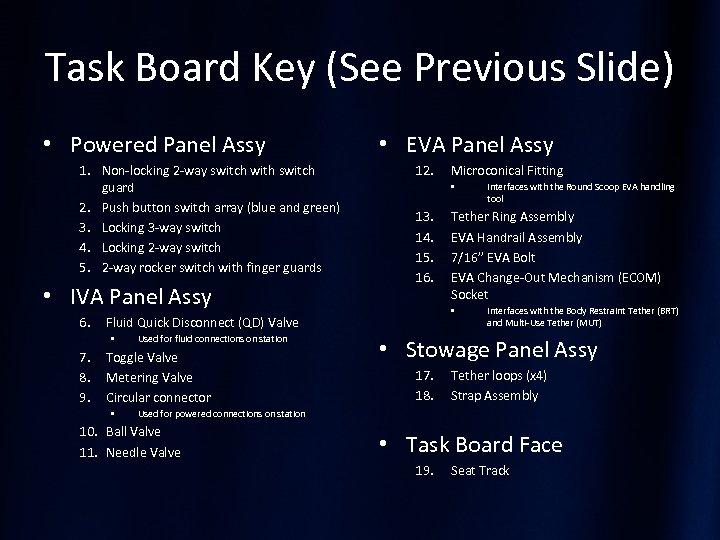 Task Board Key (See Previous Slide) • Powered Panel Assy 1. Non-locking 2 -way