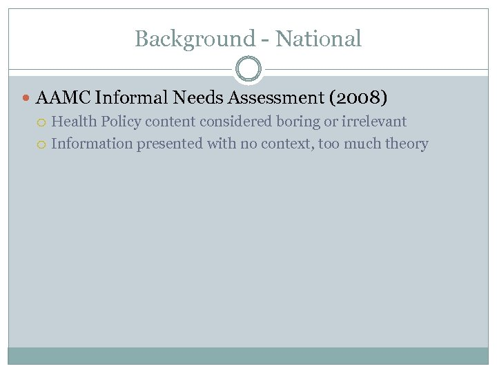 Background - National AAMC Informal Needs Assessment (2008) Health Policy content considered boring or