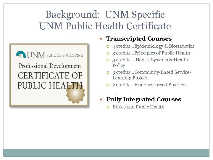 Background: UNM Specific UNM Public Health Certificate Transcripted Courses 4 credits…Epidemiology & Biostatistics 3