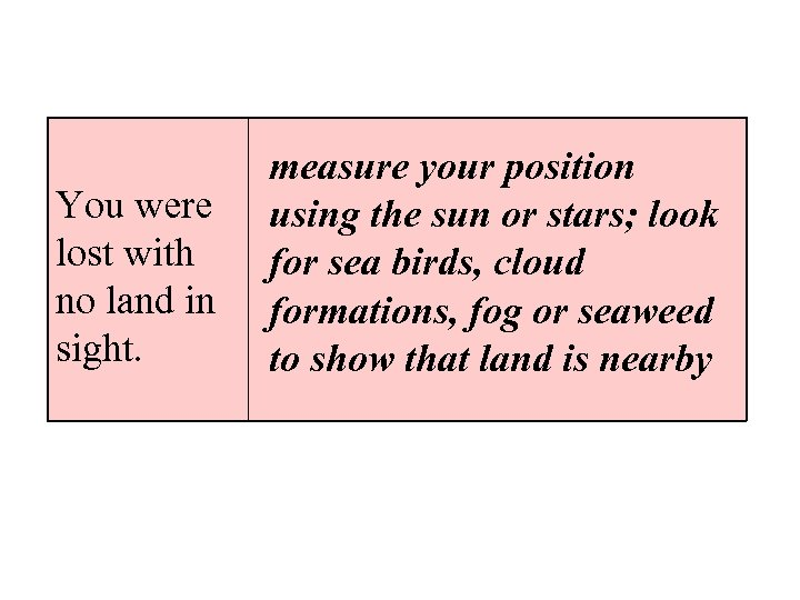You were lost with no land in sight. measure your position using the sun