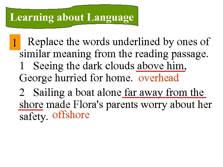 Learning about Language 1 Replace the words underlined by ones of similar meaning from