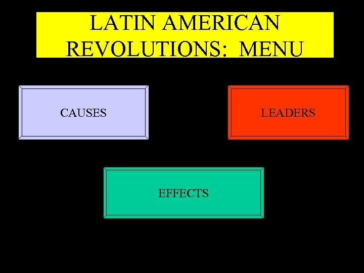 LATIN AMERICAN REVOLUTIONS: MENU CAUSES LEADERS EFFECTS